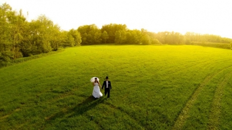 Drone camera in wedding photography